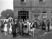 Australian Women Cricketers, leaving Mitcham Town Hall, with Tom Golt and Mayor Turner & Mayoress