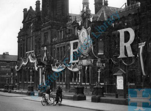 Coronation Decorations for Queen Elizabeth II at Bootle Town Hall
