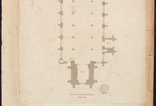 Ground plan and section, All Saints Church, Kenton