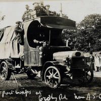 Army Transport Corps lorry at A.S.C depot , Crosby Road South, Seaforth, August 1914