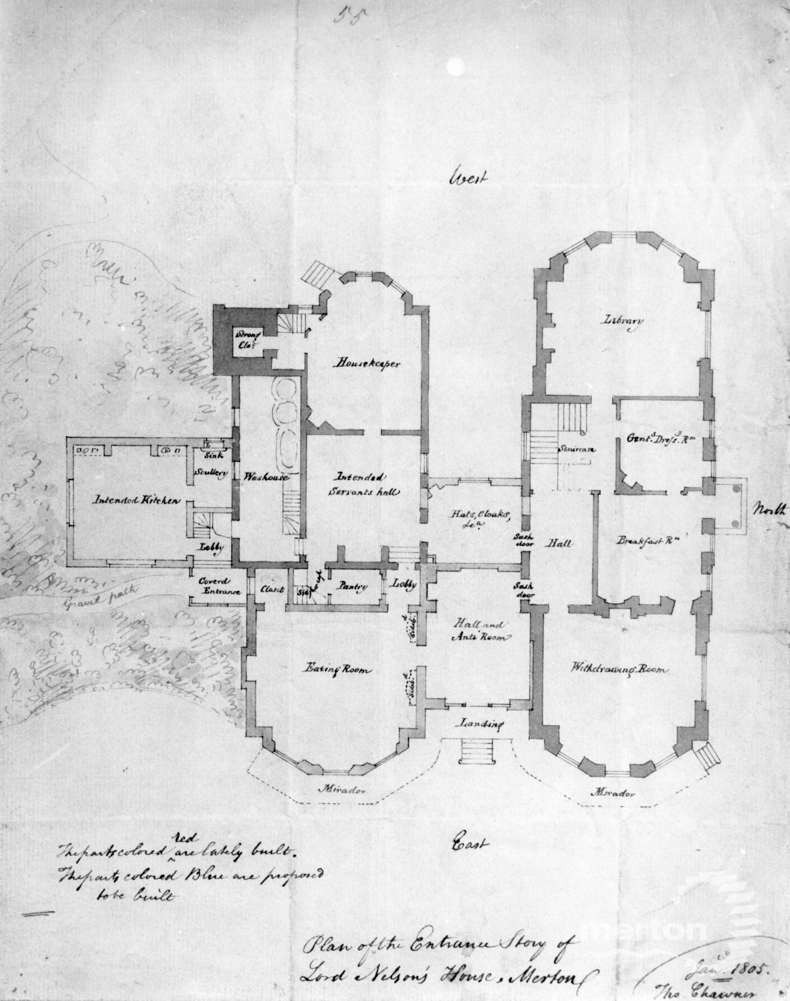 Merton Place: Thomas Chawnor's plan for the Ground floor ... on green plan, church plan, salvation plan,