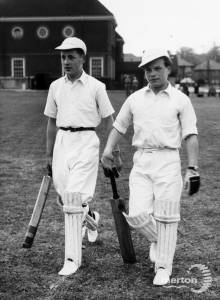 Garth Secondary School for Boys, Lillesham Road, Morden: Opening match on the new cricket pitch