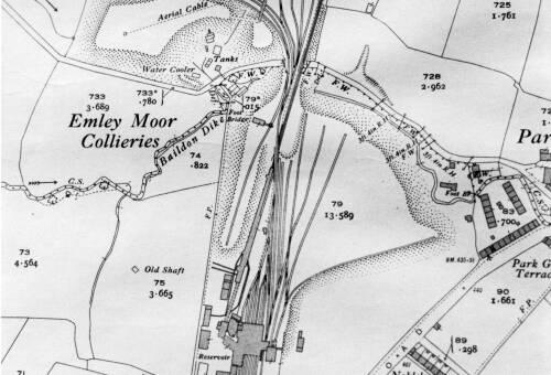 113 Close up map of coke ovens site, Park Gate, Skelmanthorpe