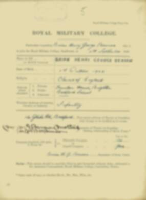 Brian Benson -  RMC Form 18A Personal Detail Sheets Jan & Sept 1920 Intake