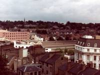 Aerial view over Wimbledon, with the Town Hall and Station roof in the foreground