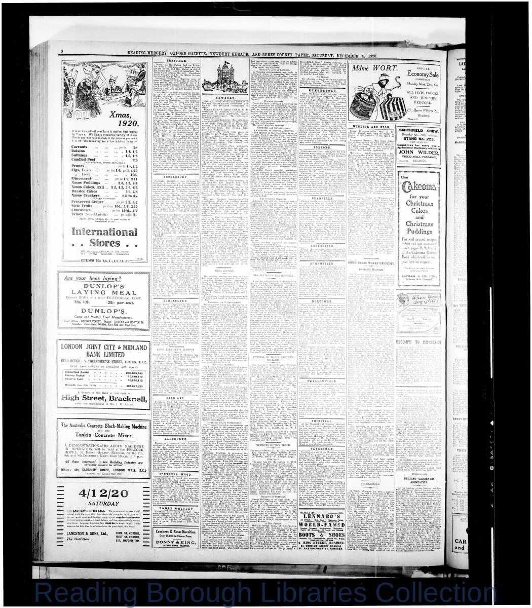 Reading Mercury Oxford Gazett Saturday, December 4,1920. Pg 6