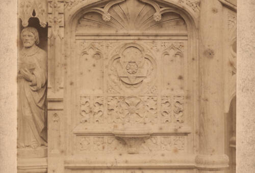 Panels of carved oak pulpit, Bratton Clovelly Church, c1885, Bratton Clovelly
