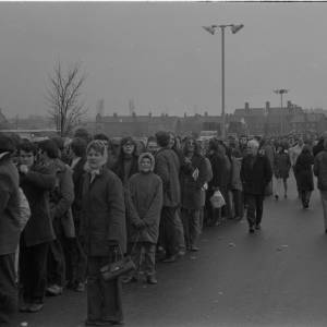 Crowds queuing for Newcastle cup tickets, Feb 1972.