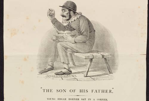 "Exeter Election 1868 ""Shakespeare illustrated"" No.6, ""The Son of His Father"""