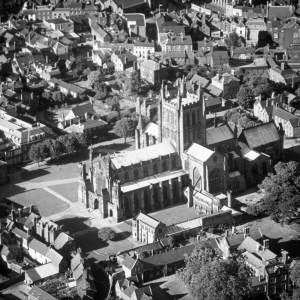 Ariel View of Hereford Cathedral in 1971
