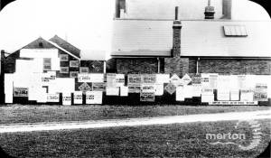 Parish council election posters behind the Cricketers Inn