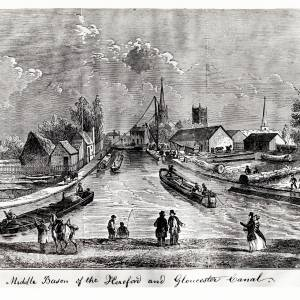Canal basin at Hereford from wood engraving