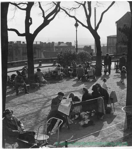 199 - Park scene, people relaxing in groups