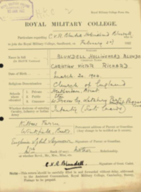 RMC Form 18A Personal Detail Sheets Feb & Sept 1922 Intake - page 10