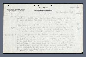 War Diary Extract for 2nd Battalion, Hampshire Regiment