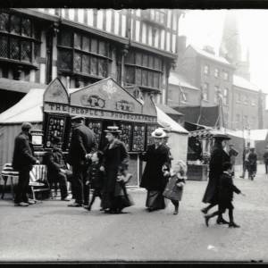 The People's Photographer stall in front of the Old House, May Fair, Hereford, c.1895