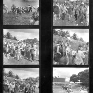 Contact sheet 1960 - Hereford Art College students having end-of-term fun in the River Wye