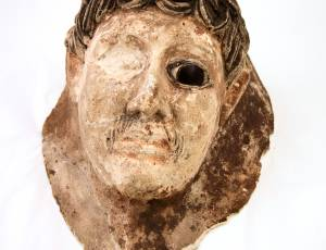 Painted Plaster Coffin Mask, Roman Egypt, Early 2nd AD