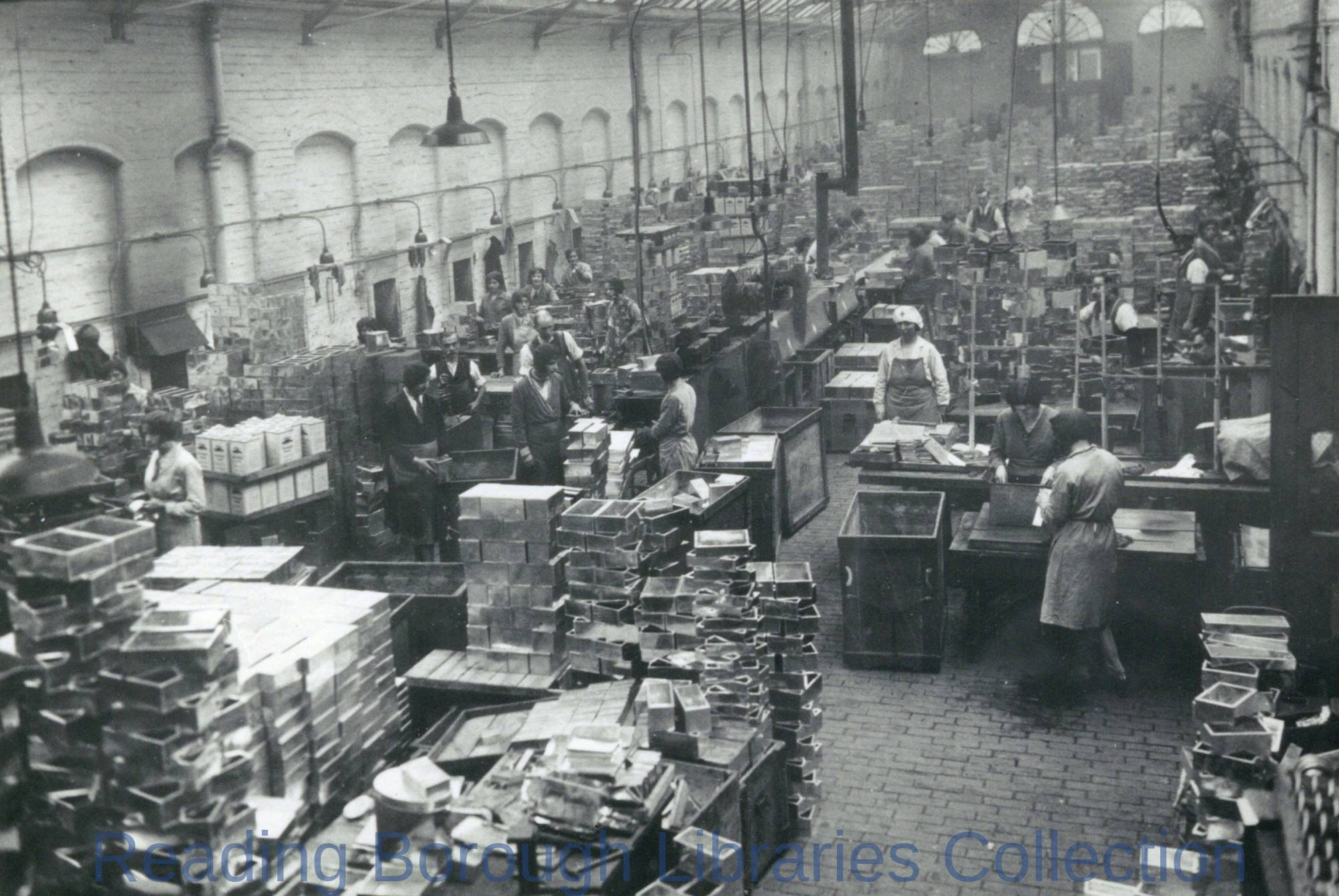 Interior of the Tinplate Factory of Huntley, Boorne and Stevens, at London Street, Reading, c. 1930