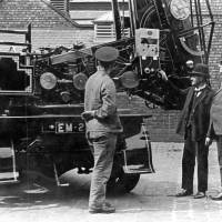 Bootle, Chief Fire Officer explains mechanism of new fire engine 1928