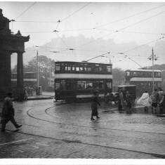 Trams On A Wet Day In South Shields
