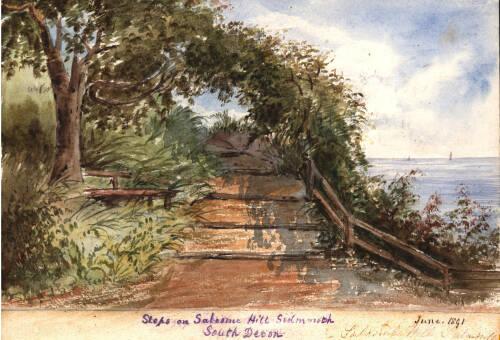 Steps on Salcombe Hill, Sidmouth, 1891, Devon
