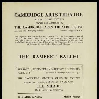 Arts Theatre Cambridge, November 1951