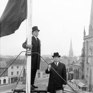A ceremony on the roof of the Shire Hall Hereford.