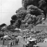 Bootle, fire, North-Western Rubber Works, 1934
