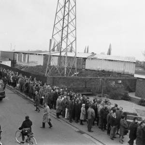 Crowds queuing for Newcastle FA Cup tickets at Edgar Street Hereford in Jan 1972.