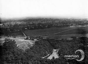 Aerial view over Wimbledon Common