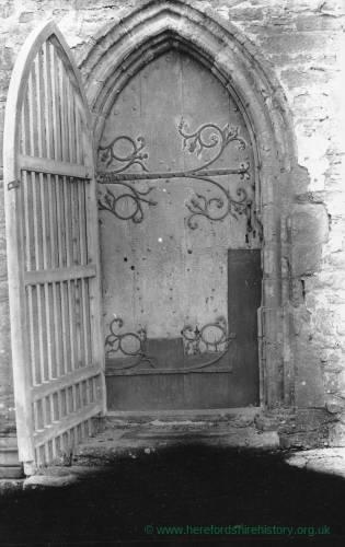 Abbey Dore church, north doorway ironwork