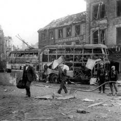 Bomb damage on east side of the Market Place