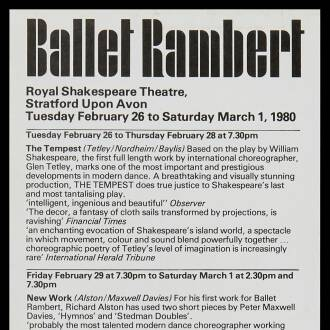 Royal Shakespeare Theatre, Stratford-upon-Avon, February–March 1980