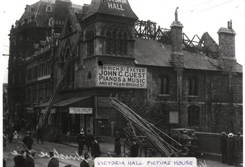 Victoria Hall Picture House fire in Queen Street, 1919, Exeter