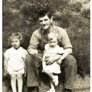 David William Jenkins, foreman at Rotherwas, killed in ROF Rotherwas bombing raid 27th July 1942, pictured with daughters Margaret and Irene