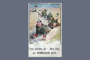 Satirical Postcard about Wimbledon soldiers
