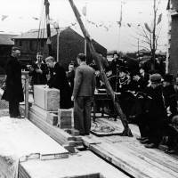 Laying the foundation stone, Litherland Town Hall, 25th February 1939