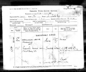 Casualty Form - Arthur Richard Ashley