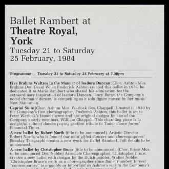 Theatre Royal, York, February 1984