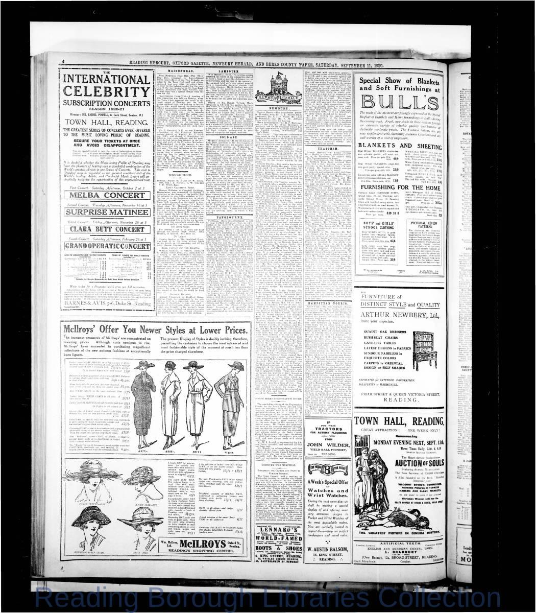 Reading Mercury Oxford Gazette  Saturday, September 11, 1920. Pg 4