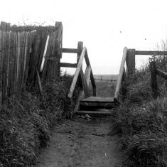 Wooden steps near the 'Nest' at Trow Rocks