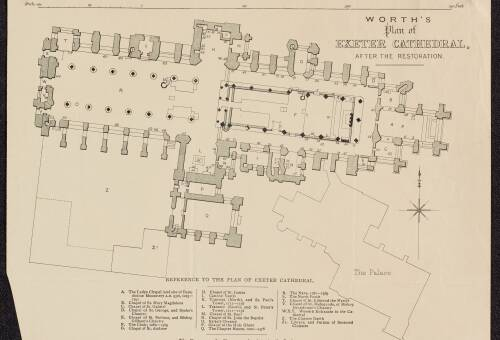 Worths plan of Exeter cathedral, 1900, Exeter