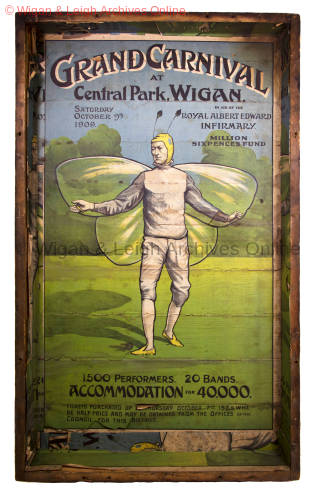 Poster for the Grand Carnival at Central Park, Wigan, in aid of the Royal Albert Edward Infirmary's Million Sixpences Fund, 1909