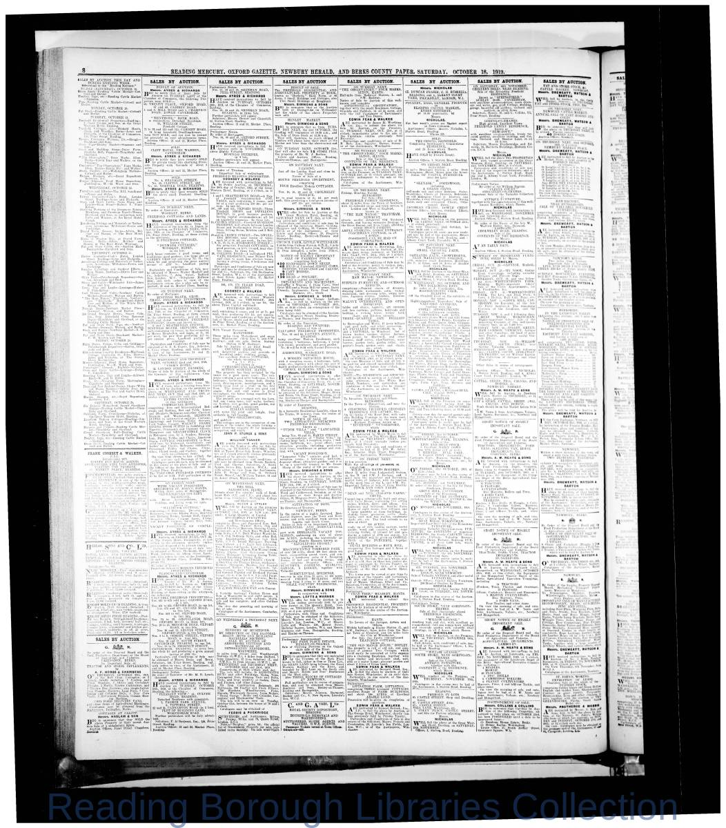 Reading Mercury Oxford Gazette Saturday ,October 18,1919. Pg 8