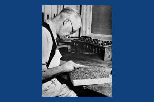 Liberty Print Works: Horace Clarke making a print block