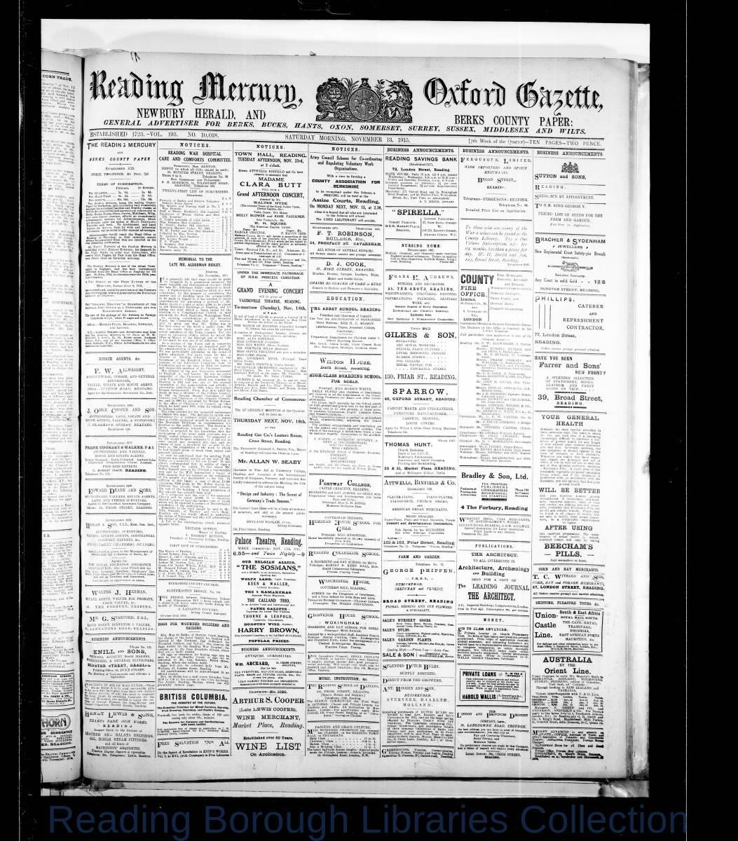 Reading Mercury Oxford Gazette Saturday, November 13, 1915. Pg 1
