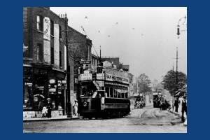 Trams on Wimbledon Broadway / Merton Road, viewed from Latimer Road