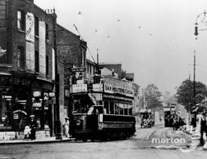 Trams on Wimbledon Broadway / Merton Road, viewed from Latimer Road