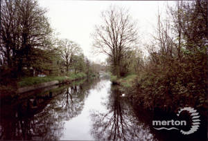 The River Wandle, looking upstream from site of Liberty's, Merton